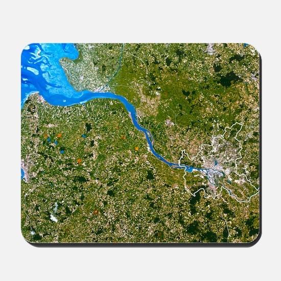 True-colour satellite image of Hamburg,  Mousepad