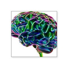 "Human brain, computer artwo Square Sticker 3"" x 3"""