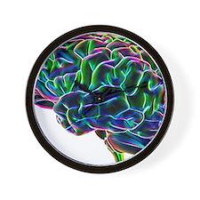 Human brain, computer artwork Wall Clock