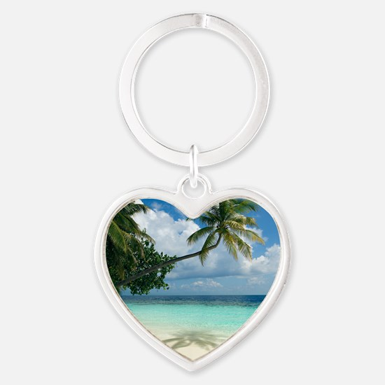 Tropical beach Heart Keychain