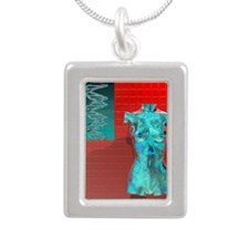 Human genome, conceptual Silver Portrait Necklace