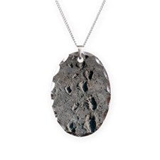 Trail of Laetoli footprints Necklace Oval Charm