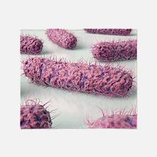 Rod-shaped bacteria, artwork Throw Blanket