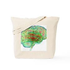 Human brain,computer artwork Tote Bag