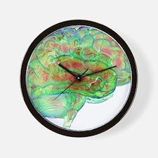 Human brain,computer artwork Wall Clock