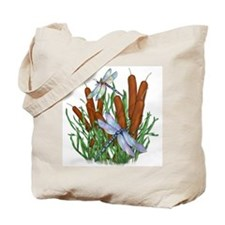 Dragonfly & Cattails Tote Bag