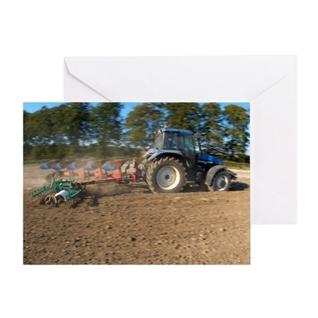 Tractor ploughing a field Greeting Card