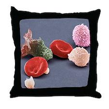 Human blood cells, SEM Throw Pillow