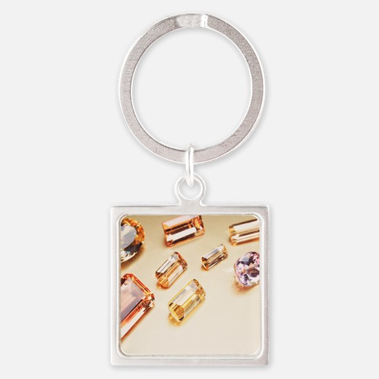 Topaz gemstones Square Keychain