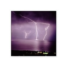 """Thunderstorm at night over  Square Sticker 3"""" x 3"""""""