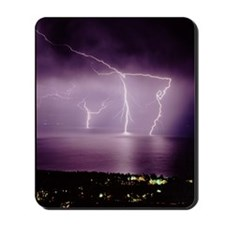 Thunderstorm at night over lake Mousepad