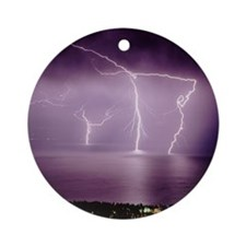 Thunderstorm at night over lake Round Ornament
