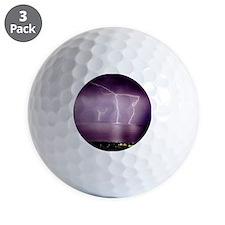 Thunderstorm at night over lake Golf Ball