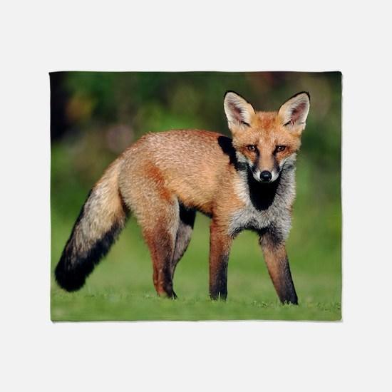 Red fox cub Throw Blanket