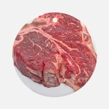 Raw T-bone steak Round Ornament