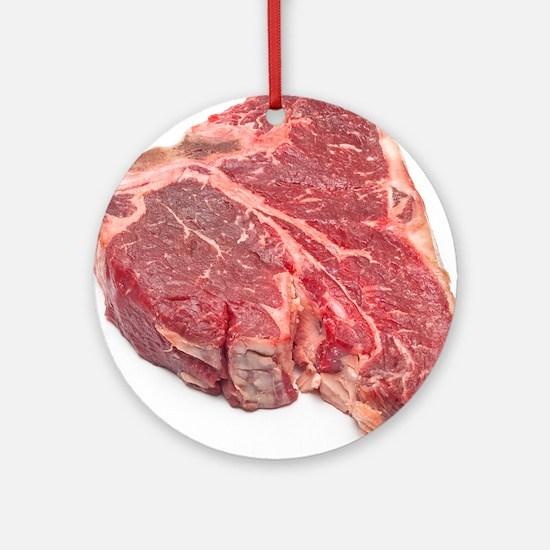 Raw T-bone steak Round Ornament