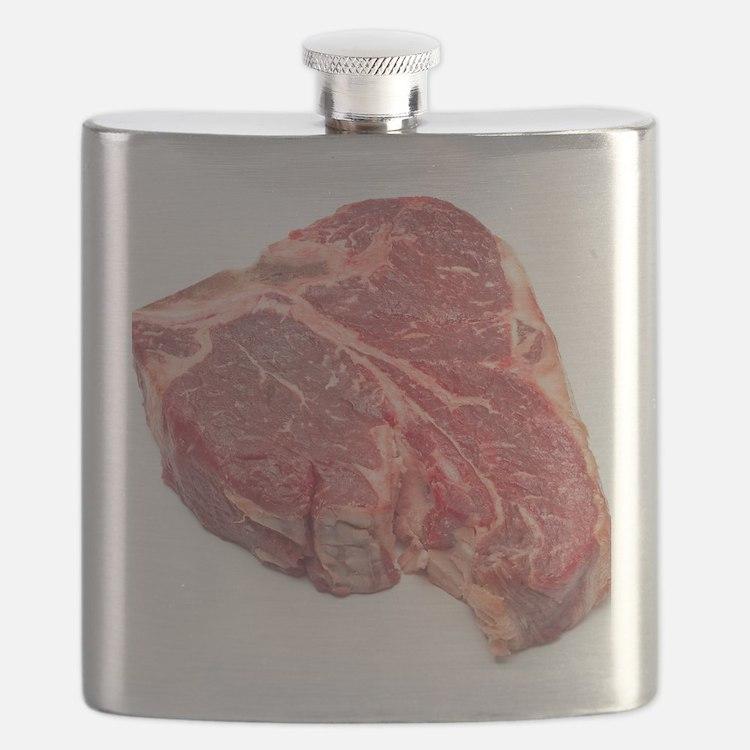 Raw T-bone steak Flask