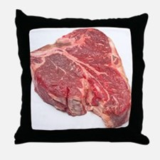 Raw T-bone steak Throw Pillow