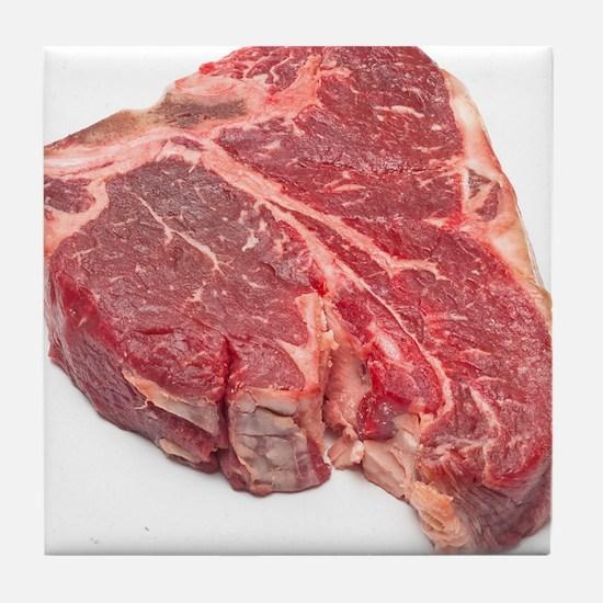 Raw T-bone steak Tile Coaster