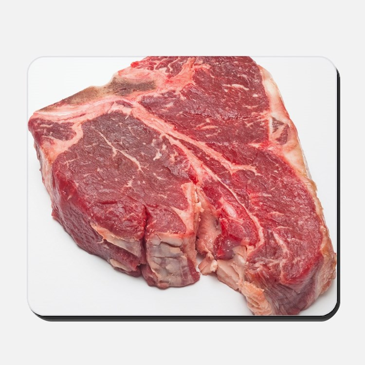Raw T-bone steak Mousepad
