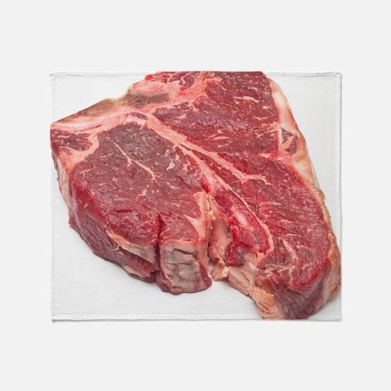 Raw T-bone steak Throw Blanket