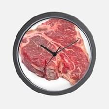 Raw T-bone steak Wall Clock