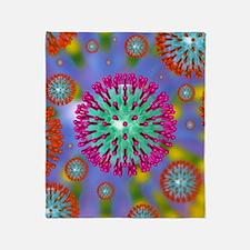 Herpes virus particles, artwork Throw Blanket