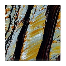 Tiger's eye mineral, thin section Tile Coaster