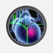 Heart attack and ECG trace Wall Clock