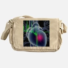 Heart attack and ECG trace Messenger Bag