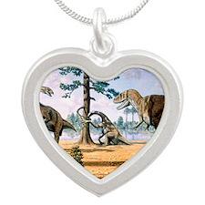 Tarbosaurus Silver Heart Necklace
