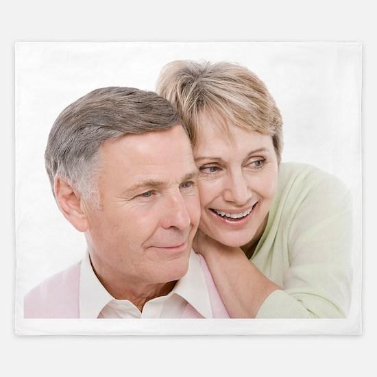 Happy senior couple King Duvet