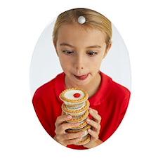 Greedy girl Oval Ornament