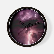 Summer lightning storm near Tuscon, Ari Wall Clock