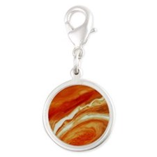 Great red spot on Jupiter Silver Round Charm