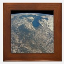 Great Lakes from space Framed Tile