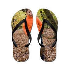 Girl kicking leaves Flip Flops