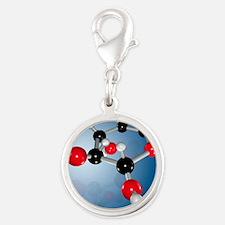 Glucose sugar molecule Silver Round Charm