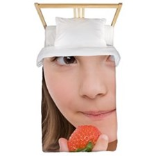 Girl eating a strawberry Twin Duvet