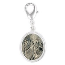 Stone Age rock carving Silver Oval Charm