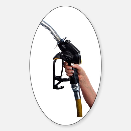 Fuel pump nozzle held in a hand Sticker (Oval)