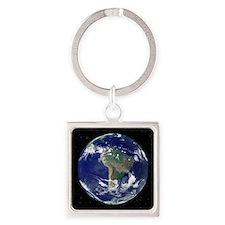 South America, satellite image Square Keychain
