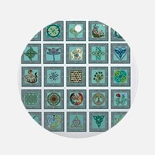 large celtic art sampler Round Ornament