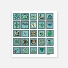 "large celtic art sampler Square Sticker 3"" x 3"""