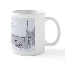 Snow-covered cottage, Braemar, Scotland Mug