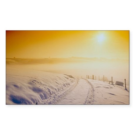 Snow covering Exmoor at sunset Sticker (Rectangle)