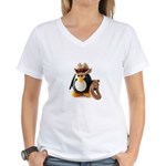 Cowboy Penguin Women's V-Neck T-Shirt