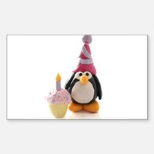 Birthday Penguin Rectangle Decal