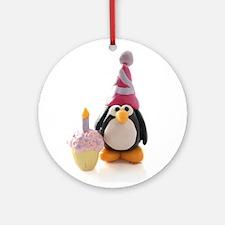 Birthday Penguin Ornament (Round)