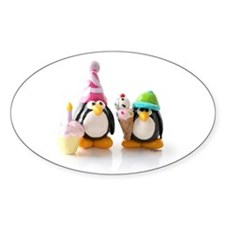 Birthday Party Penguins Oval Decal